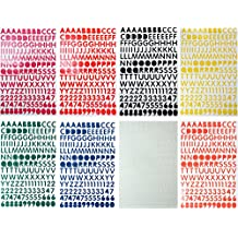 Jazzstick Upper-Case Alphabet Letters Numbers Decorative Sticker Value Pack Bulk 8 sheets Assorted Colors Red/Green/Orange/Black/White/Navy/Yellow/Pink 14A