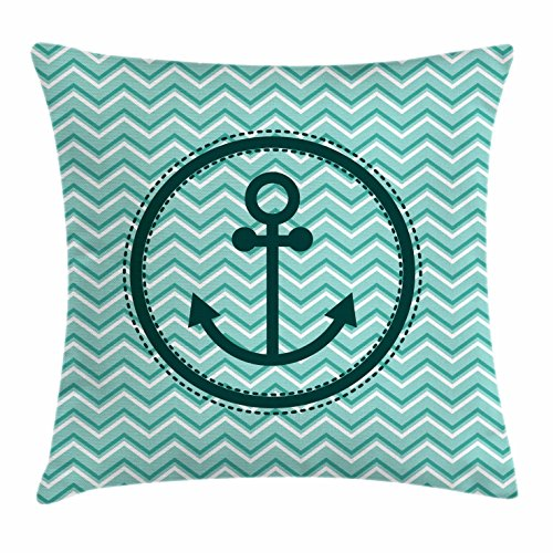 Ambesonne Anchor Throw Pillow Cushion Cover, Horizontal Zig Zag Pattern Background Anchor Image Circle Shape Medallion, Decorative Square Accent Pillow Case, 36 X 36 inches, Dark Green ()