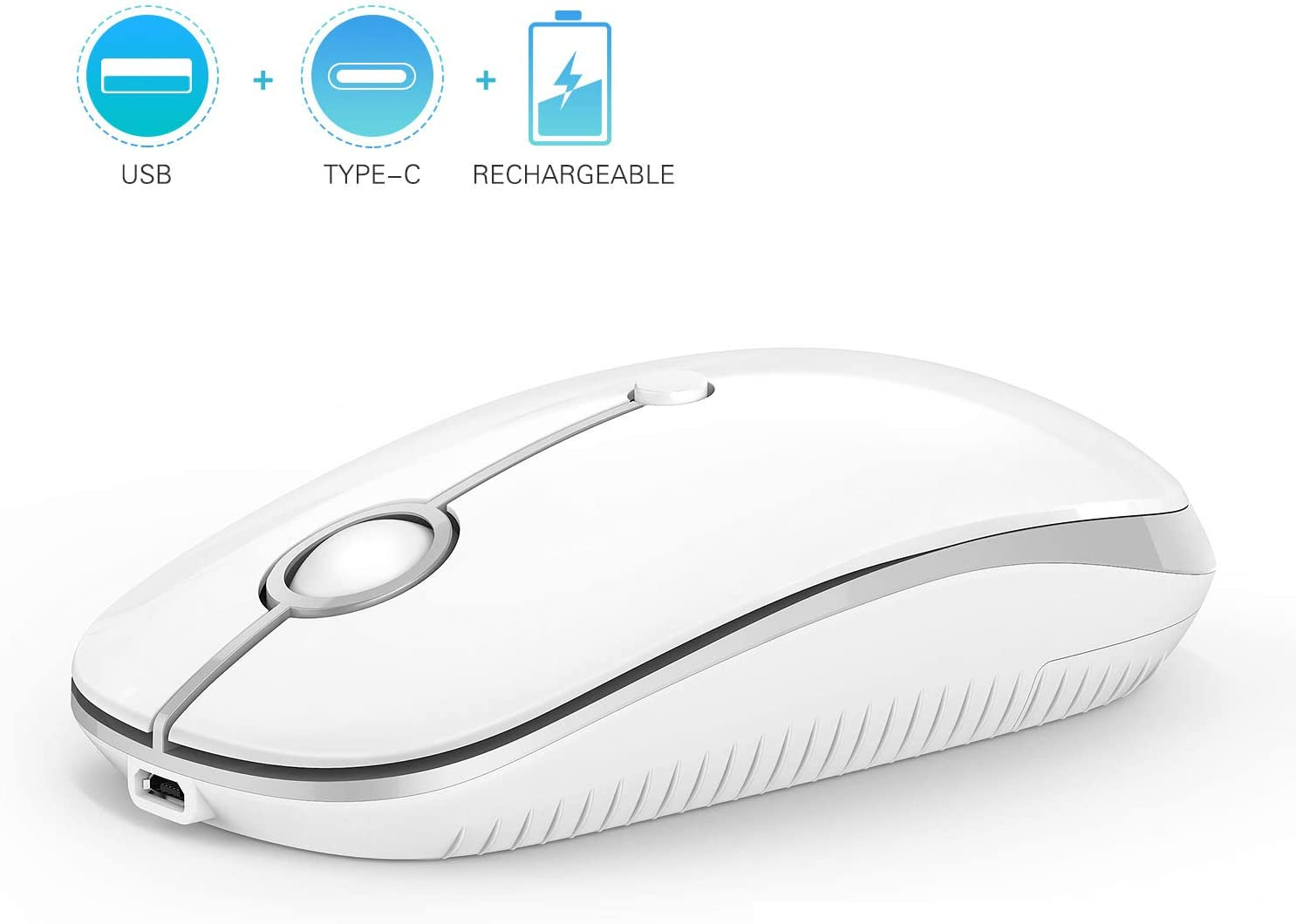 Type C Wireless Mouse, Jelly Comb Dual Mode 2.4Ghz Rechargeable Slim Wireless Mouse with Nano USB and Type C Receiver for PC Laptop, MacBook pro, MacBook air, iMac-MS05 (White and Silver)