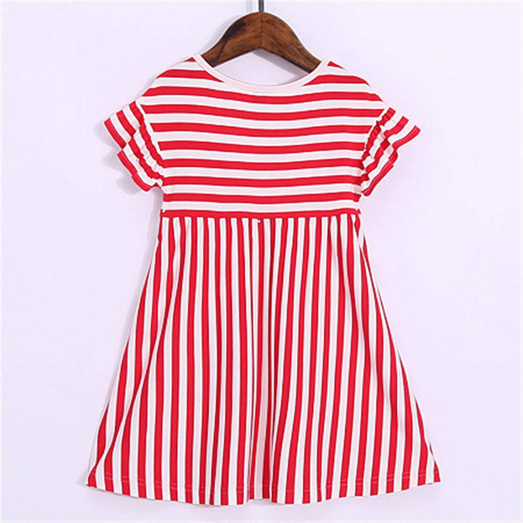 a07a1b27449 Amazon.com  Baby Girl Dress,Beppter Independence Day Family Set Lovely  Sleeveless Organic Cotton Casual Stripe Print Dress(Red