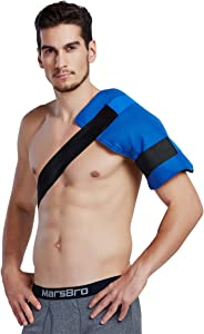 Koo-Care Flexible Gel Ice Pack & Wrap with Elastic Straps for Hot Cold Therapy (Shoulder & Arm, Back, Hip, Thigh, Knee, Shin) (Large, 11'' x 14'')