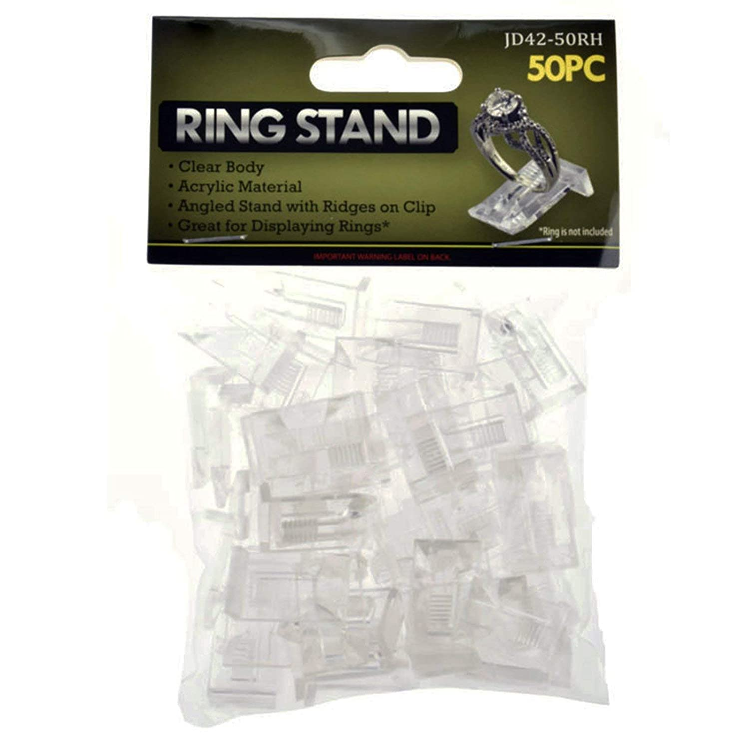 Universal Hobby Jewelry Ring Stand Set Clear Acrylic Body Clip 50 Pieces