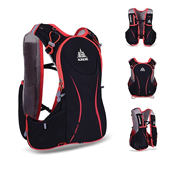 Amazon.com : Ezyoutdoor Professional 5L Red&Black Vest Backpack Lightweight Adjustable Hydration Pack Vest Mochilas for Race Running Climbing Ski Hiking ...