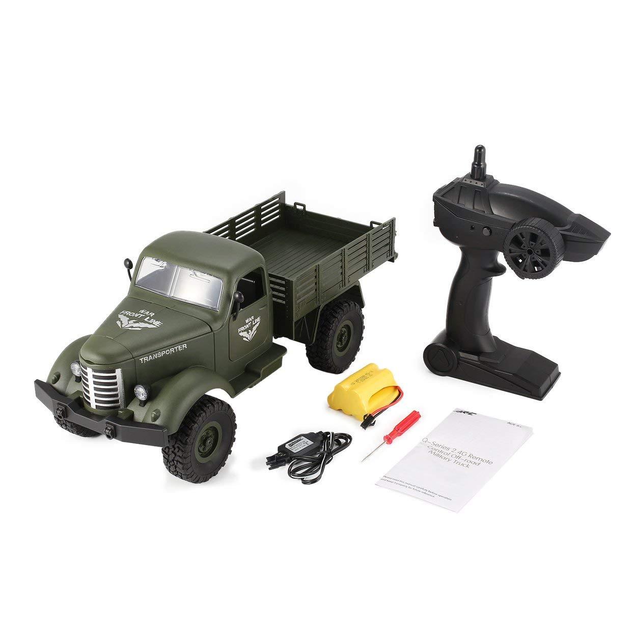 LoveOlvidoD JJR / C Q61 1/16 2,4G 4WD RC Off-Road Militär Truck Transporter RC Auto Fernbedienung Fahrzeug für Kinder Geschenk Kinder Spielzeug