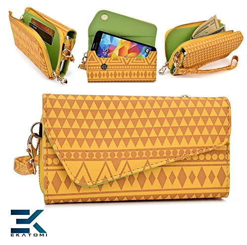 YELLOW '  TRiBAL PRiNT  Carrying Case Wallet Wristlet ZTE Easy Touch 4G Wristlet & Bonus Ekatomi Screen Cleaner