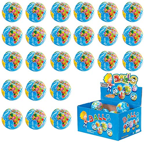 Liberty Imports 24 Pack - Mini Globe Planet Earth Soft Foam Stress Ball Toy Bulk Educational Novelties for Kids, School, Classroom, Party Favors - (2.5 inches Inches) ()
