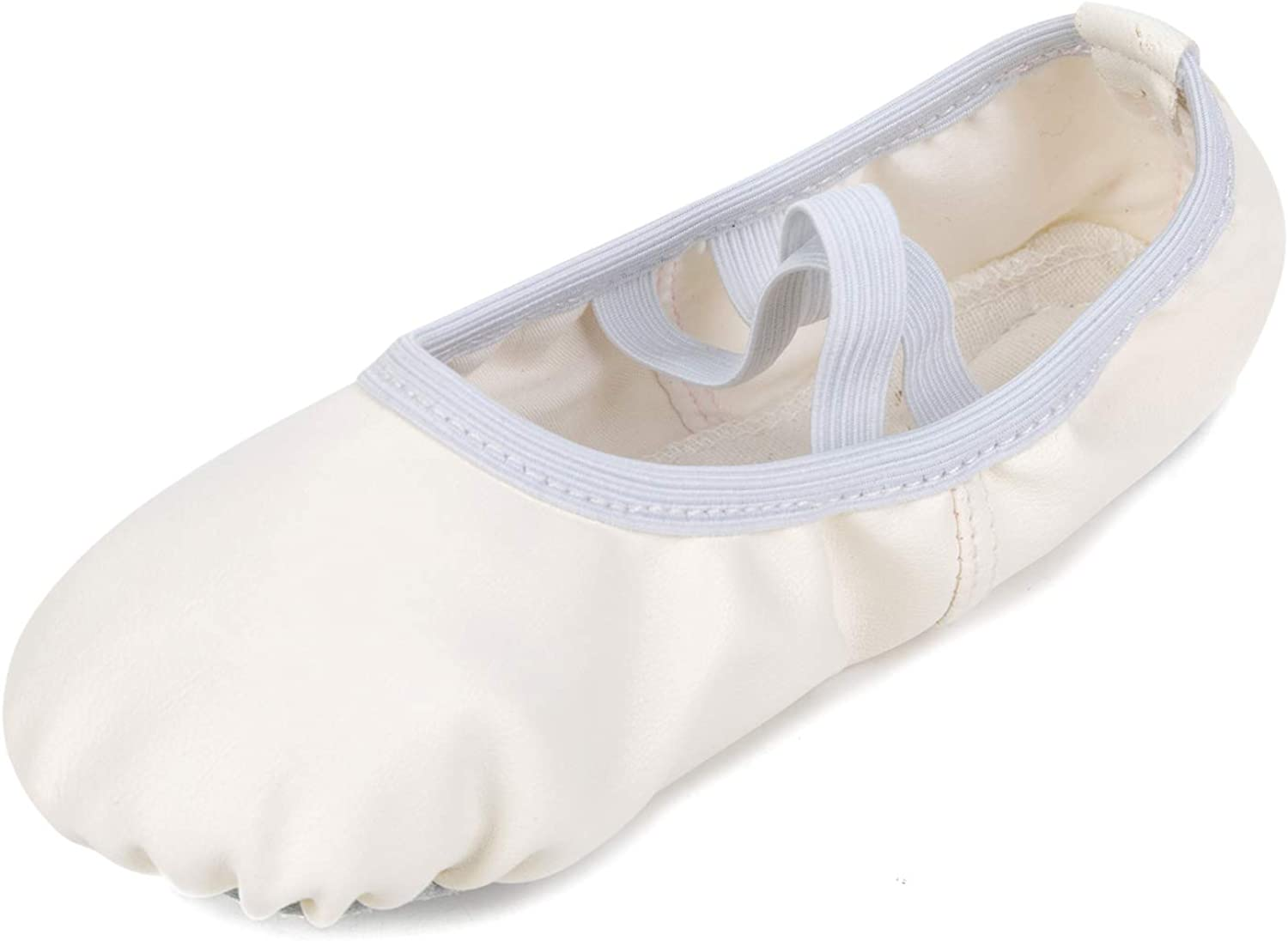 Lightweight Kids Girls Womens Split Sole Foldable Leather Ballet Flats Shoes with Ankle Straps