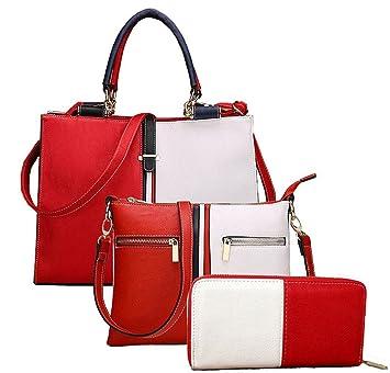 17dad43e86 Yiyida Bicolor Splicing Women Shoulder Bags 2 Pieces Tote Bag Pu Leather Handbags  Purse Bags Set