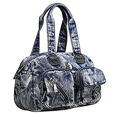 Donalworld Women Vintage Denim Handbag Hobos Totes Black