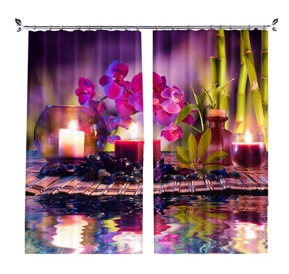 カスタムパーソナリティ3D風景風景寝室リビングルーム窓枠短いカーテンカーテン 水の花2×幅117×高さ228cm   B07QX629RZ