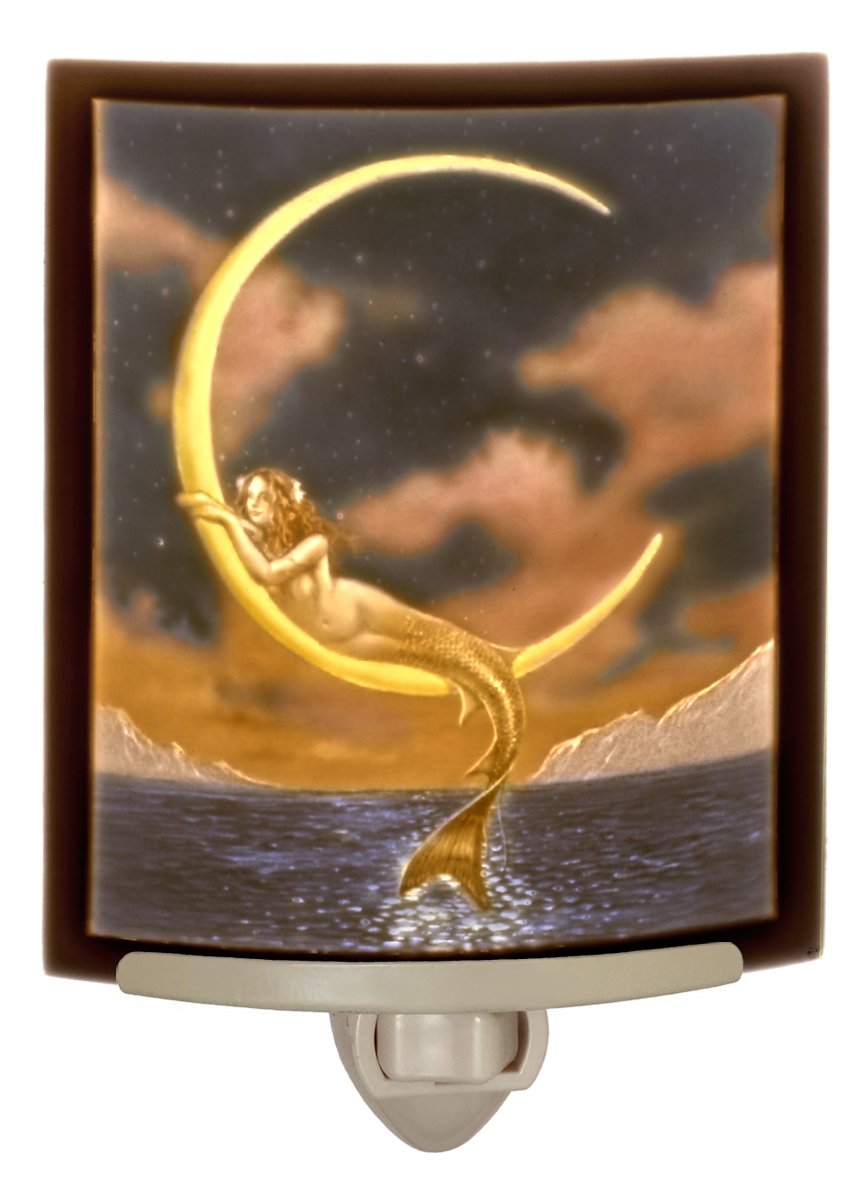 Mermaid and The Moon Colored Porcelain Lithophane Night Light-Art by David Delamare