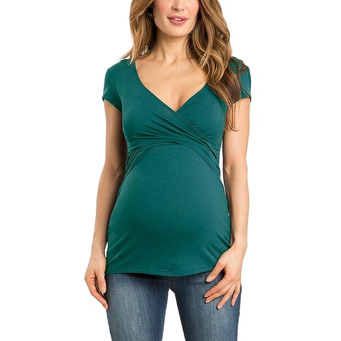 Damen Elastische T-Shirt Top Oberteil Schwangere kurzen /Ärmeln 999p Happy Mama