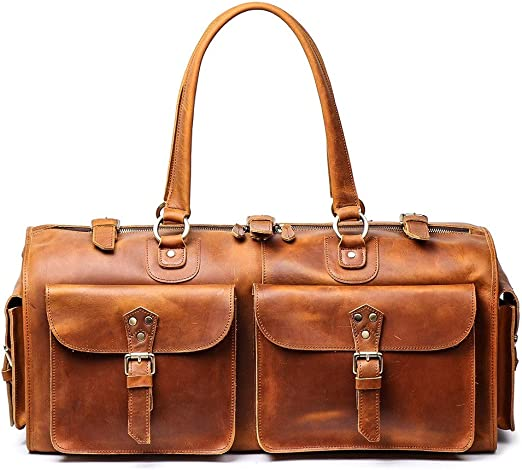 Capacity Brown Leather Bag  duffel Travel Men Retro Gym Luggage Overnight Duffle