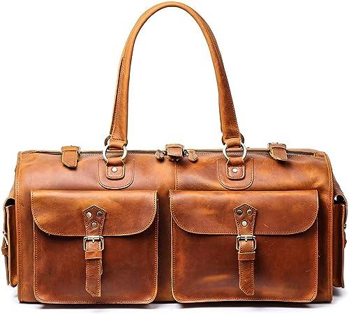 Hommes Bagage Main Voyage Cuir Week-end de Grande Capacité Portable épaule sac de gym