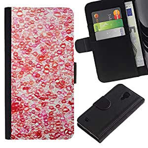 For SAMSUNG Galaxy S4 IV / i9500 / i9515 / i9505G / SGH-i337,S-type® Hot Love Red White Pattern - Dibujo PU billetera de cuero Funda Case Caso de la piel de la bolsa protectora