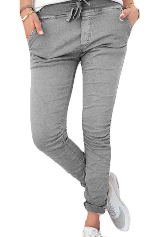 Yacun Women Casual Pencil Pants Drawstring Skinny Leggings with Pockets Grey XL