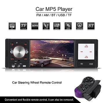 Qiilu 4 Pulgadas Reproductor DVD HD Pantalla Digital USB/SD/RMVB(1080P) Am/FM AUX Controlador Remoto de Volante Radio MP5 Multimedia Player para Coche: ...