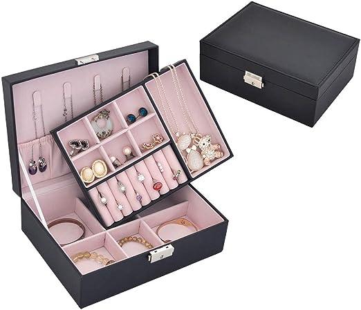 Organizadores y cajas para joyas Caja de joyería Soporte de exhibición de joyería para collar Pulsera Anillo Pendiente Caja de almacenamiento de cuero doble (color opcional, 23cm * 17cm * 8.5cm): Amazon.es: