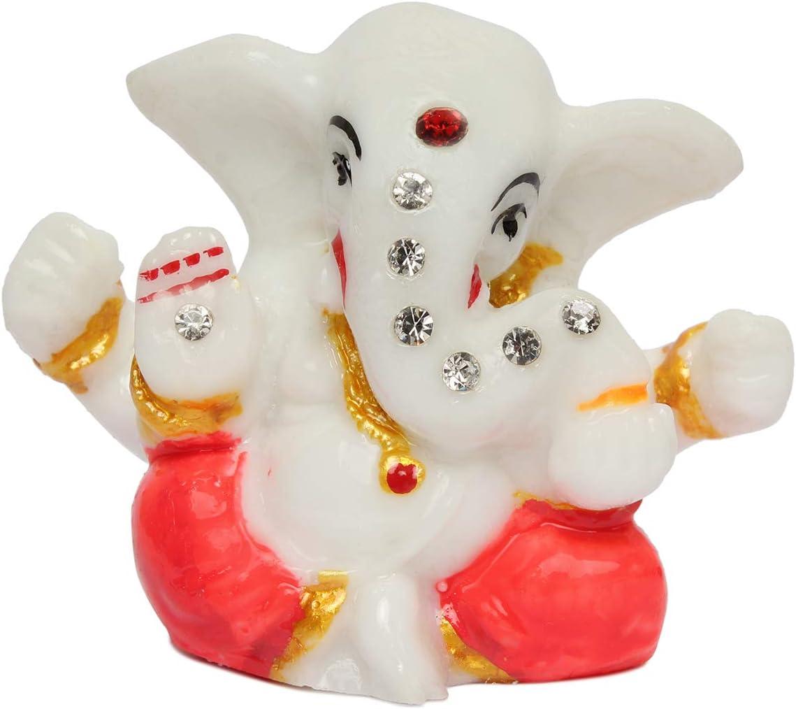 affaires Decorative Ganesh Stone Studded Idol/Murti/Ganjapti Statue Showpiece Gift Item for Car Dashboard| Puja | Mandir Pooja | Home Decor G-496