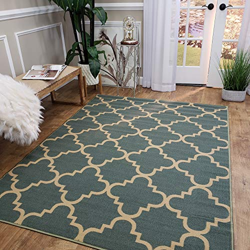 Area Rug 5x7 Teal Trellis Kitchen Rugs and mats | Rubber Backed Non Skid Rug Living Room Bathroom Nursery Home Decor Under Door Entryway Floor Non Slip Washable | Made in Europe