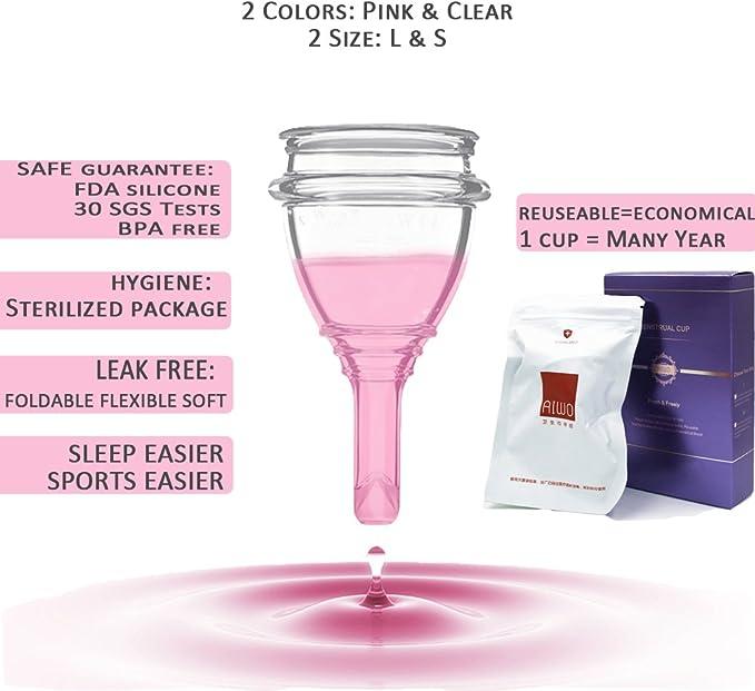 AIWO copa menstrual - paquete estéril & válvula de descarga - vacía tu copa sin quitártela - talla grande copa menstrual organica hecha para mujeres ...