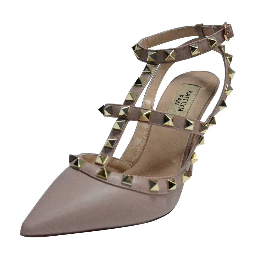 Kaitlyn Pan RockStud Slingback High Heel Leather Pumps (11US/ 42.5EU/ 45CN, Poudre matte/Nude Straps/Gold Studs)