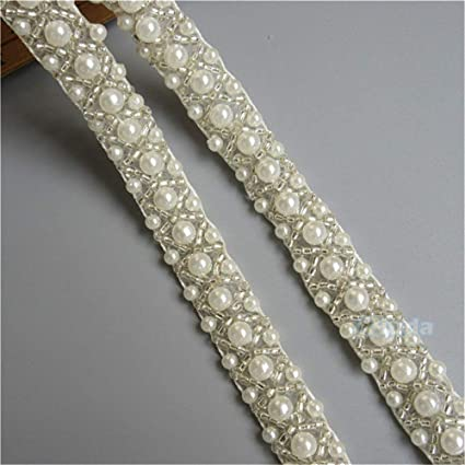 metre crafts cakes sold in yds Vintage lace pearl trim ribbon bridal wedding