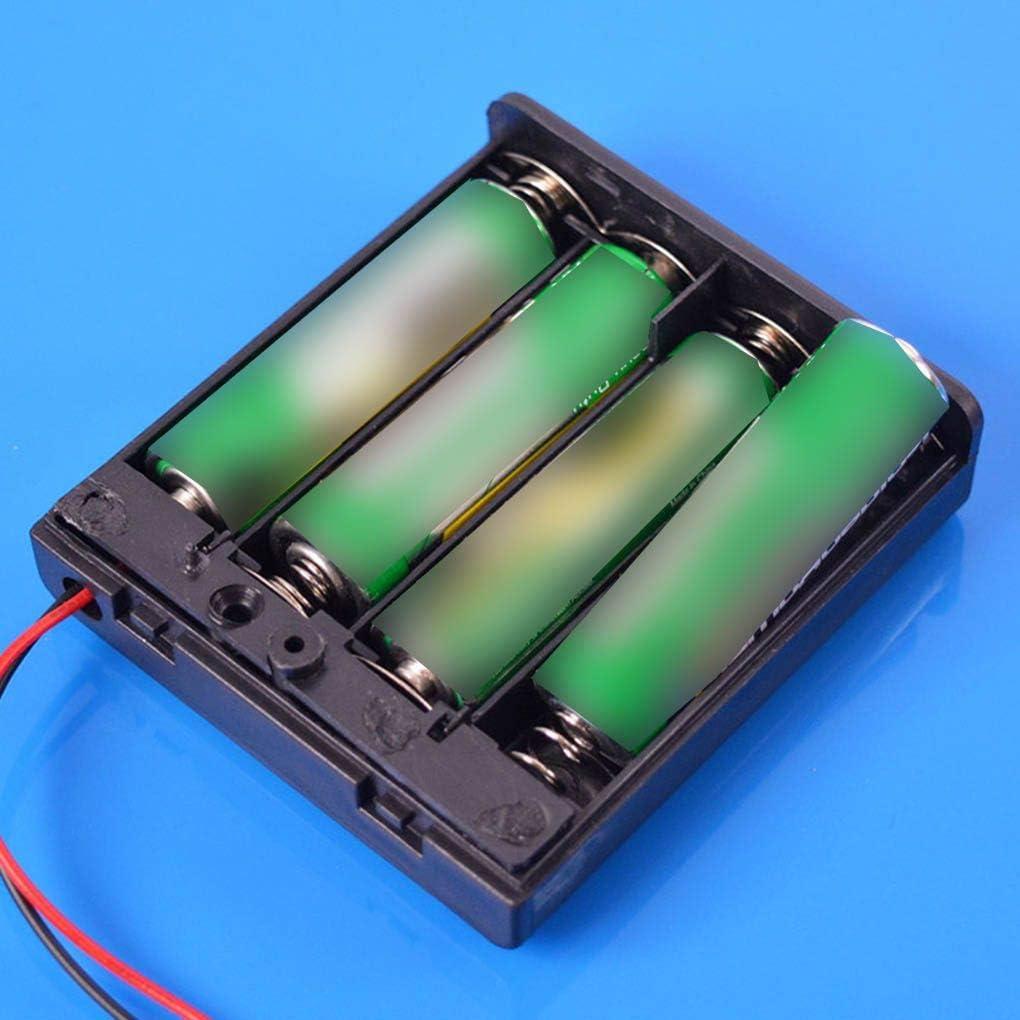 Busirde Schwarz 4 AA-Batterien Box 6V Deckel Schalter Batteriehalter Fall Halterung Batterieregalfach