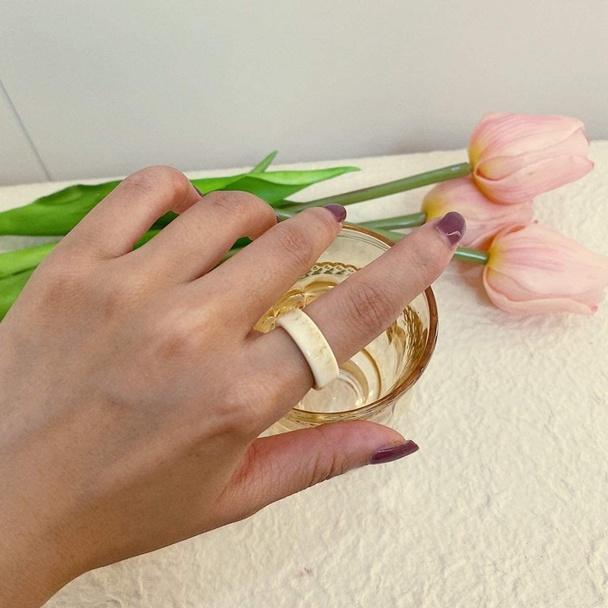4PCS Retro Vintage Resin Ring Set Transparent Acrylic Finger Rings Jewellery Gifts for Women Girls Friends