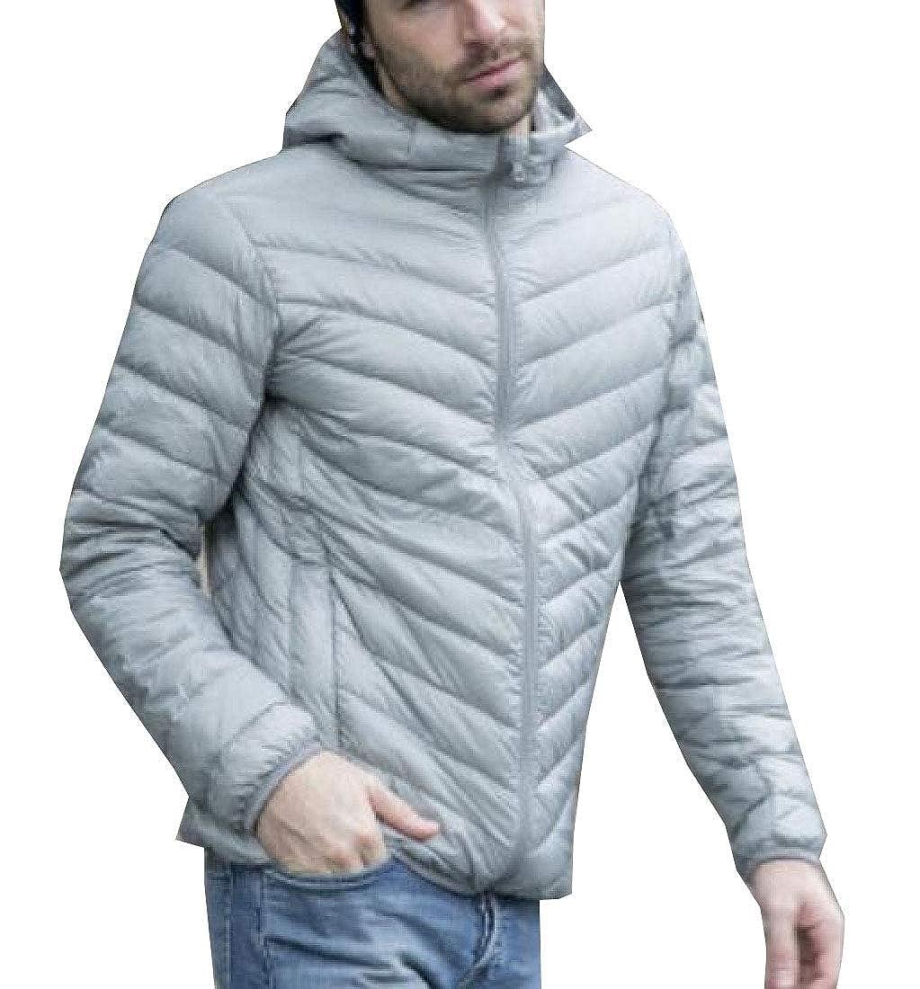 XQS Mens Warm Hooded Packable Light Weight Down Puffer Jacket Coat