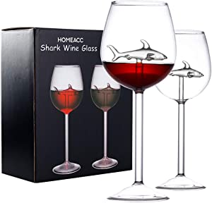 Shark Wine Glasses Set of 2,Great Gift for Wine Tasting Birthday Anniversary Wedding,10 Ounce Shark Wine Glass Goblets for Shark Week Gifts