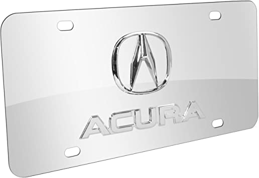 Au-Tomotive Gold INC Chrome Logo On License Plate Black Frame for Acura