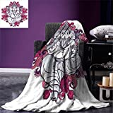 smallbeefly Elephant Digital Printing Blanket Elephant Figure over Floral Colorful Mandala Pattern Eastern Faith Symbol Print Summer Quilt Comforter Pink Grey