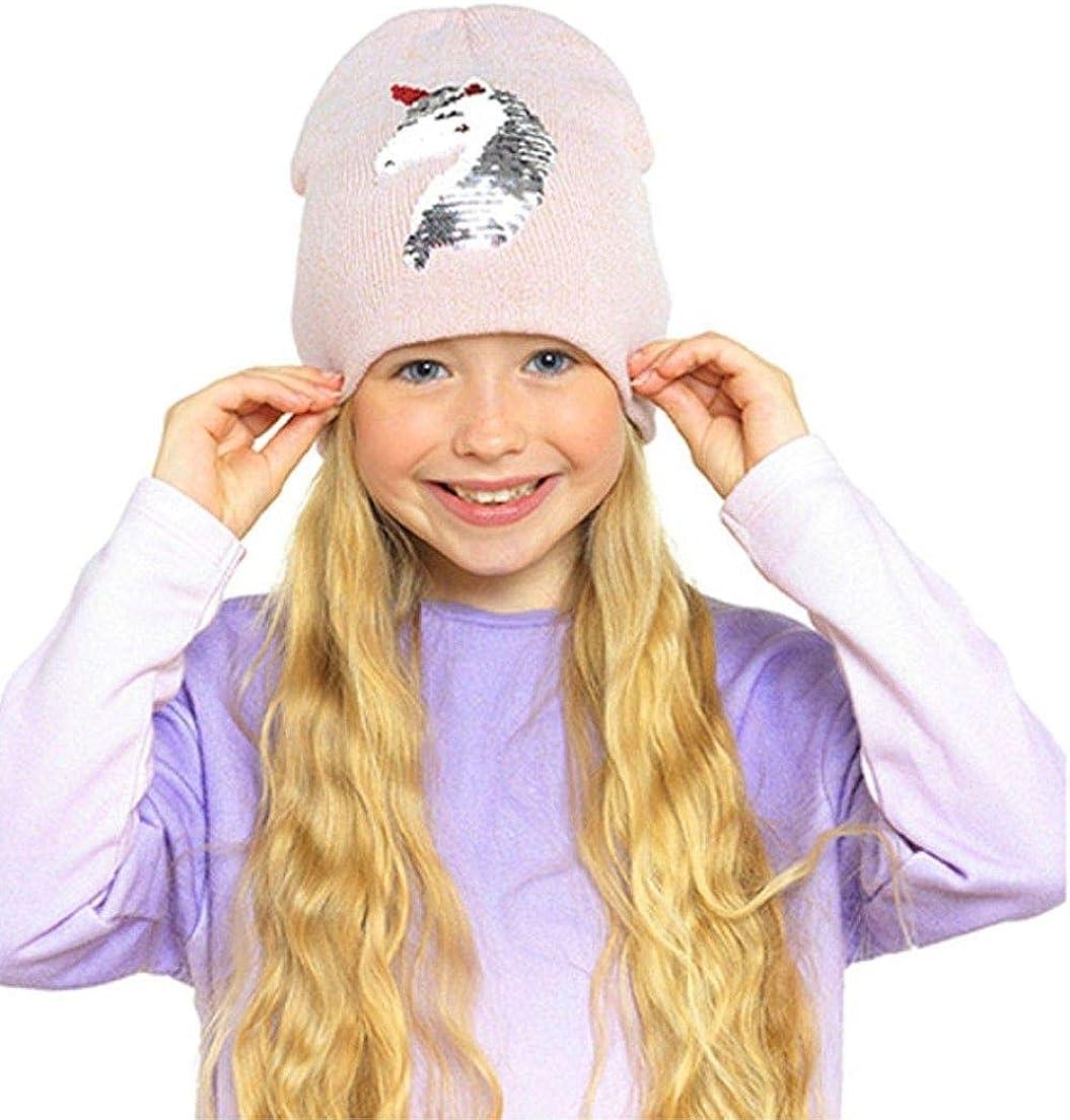 Thingimijigs Berretto da Bambina con Paillettes reversibili Cuore e unicorni