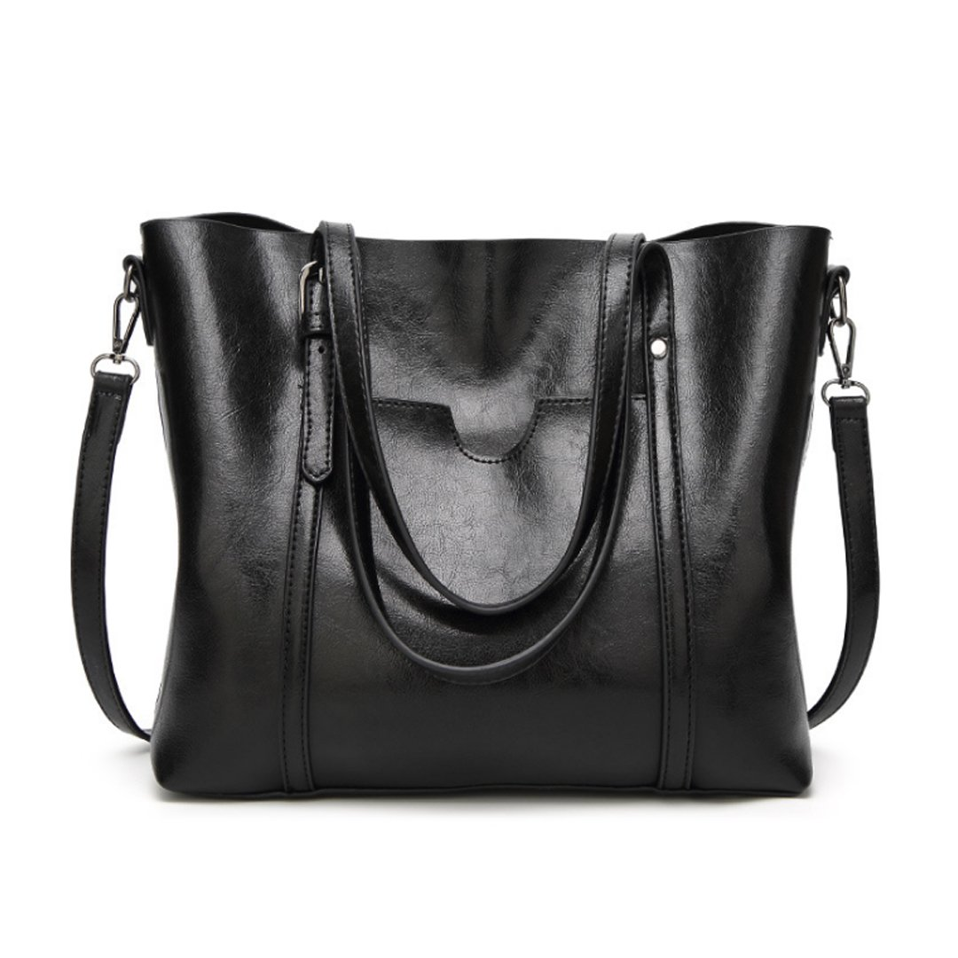 Women Genuine Leather Handle Daily Work Shoulder Bag Large Capacity Black Ciara