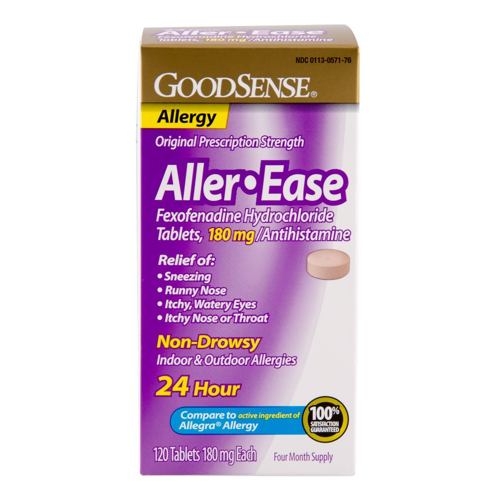 GoodSense Aller-Ease Fexofenadine Hydrochloride Tablets, 180 mg, 120 Count by Good Sense