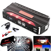 RDT 68000mAh 600A Peak Car Jump Starter Portable Power Bank External Battery Charger Emergency Auto Jump Starter Laptop Smart Phone USB Device with 4 USB Charging Port and Built-in LED Flashlight