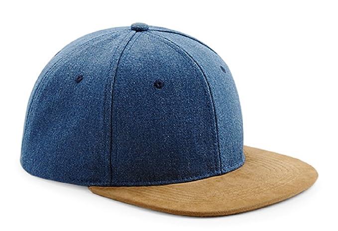 Amazon.com  Beechfield Unisex Faux Suede Peak Snapback Cap (One Size ... 118849f1f1b