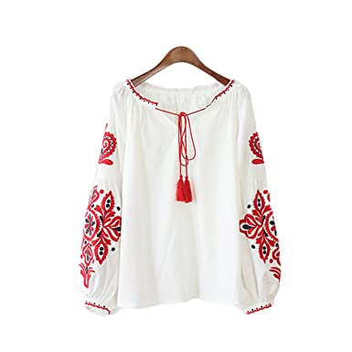 86df6fb026f Vintage Ethnic Flower Embroidery Blouse Women Shirt Tassel Lace Up Collar Ladies  Top Femme Long Sleeve