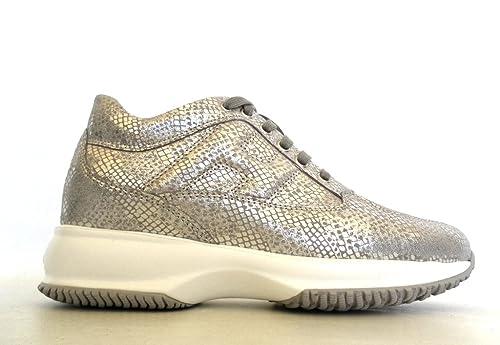 Hogan scarpe HXW00N00010GZRB606 donna interactive allacciata modello HXW00N00010GZRB606 scarpe grigio 7c6170