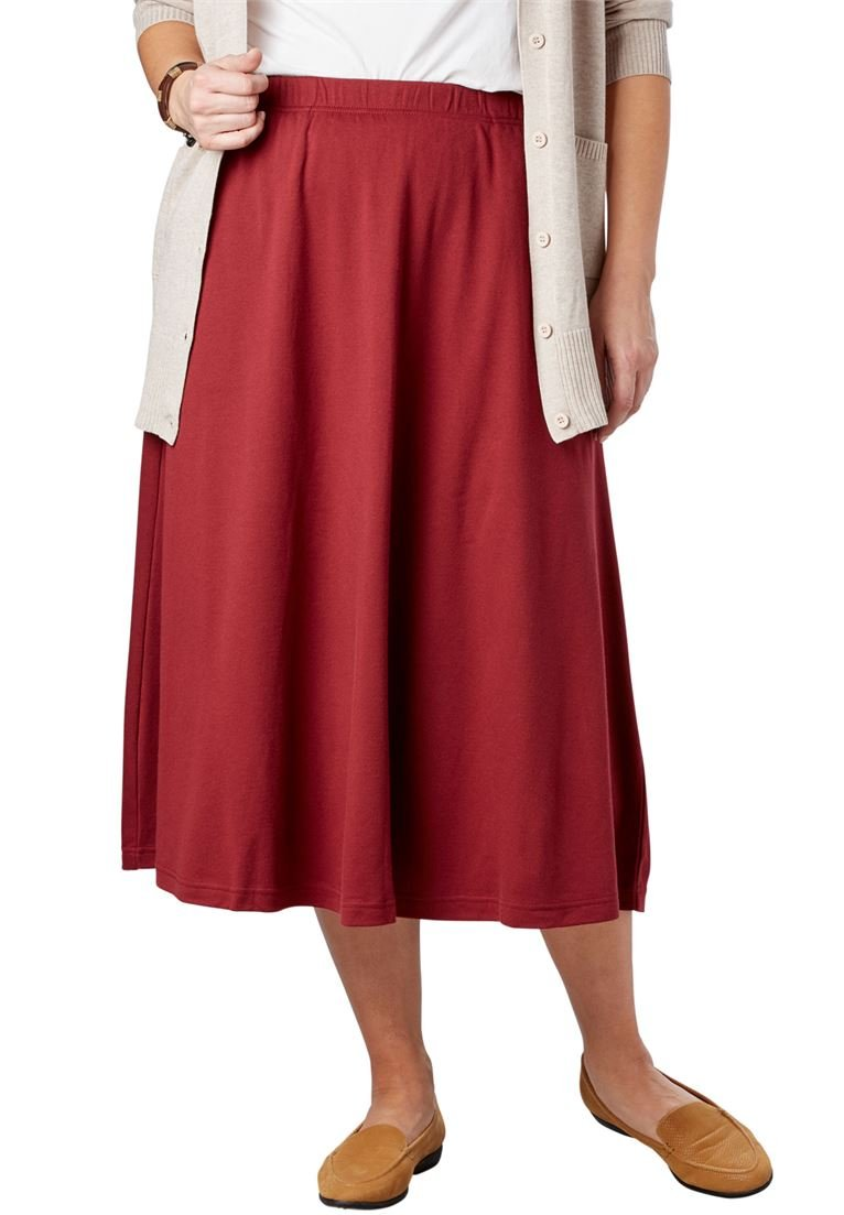 Women's Plus Size 7-Day Knit A-Line Skirt Rich Burgundy,3X