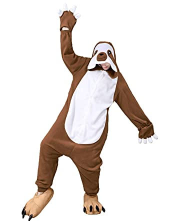 eb2aa58c dressfan Unisex Animal Sloth Cosplay Costume Sloth Pajamas Adult Kids Women  Men