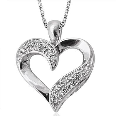 Amazon 10k white gold heart diamond pendant necklace 15 carat 10k white gold heart diamond pendant necklace 15 carat mozeypictures Gallery