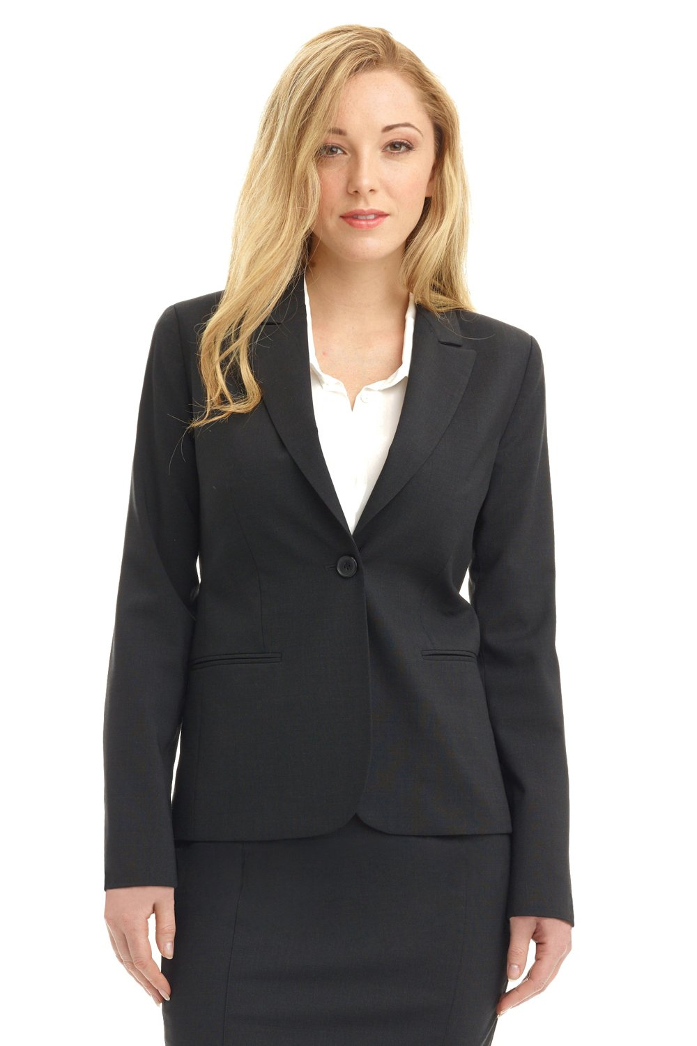 Rekucci Collection Women's Blazer with Single Button Reese Pocket (6,Charcoal)