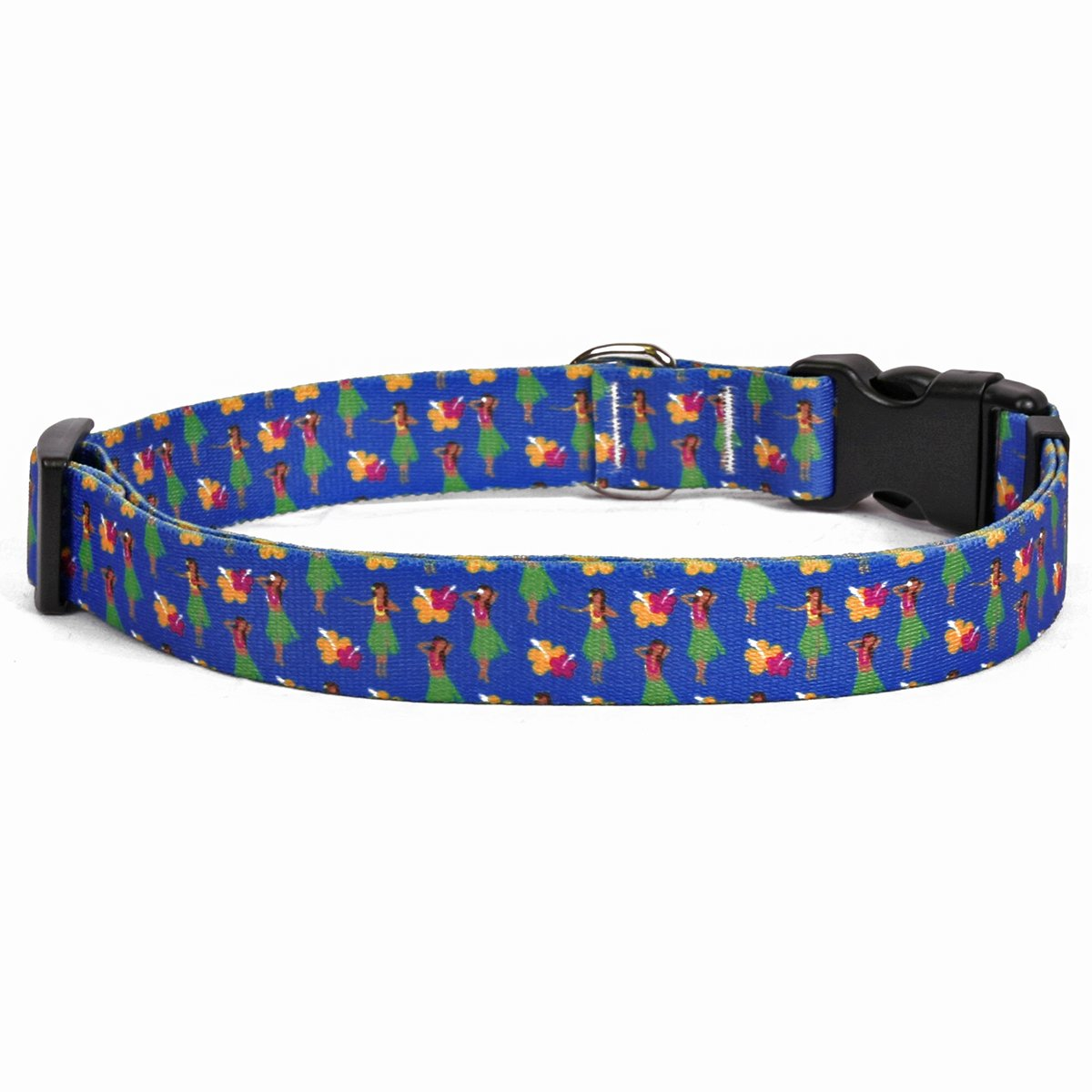 Yellow Dog Design Hula Girls Dog Collar Fits Neck 14 To 20'', Medium 1'' Wide