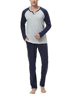 Aibrou Pijama Hombre Algodón Largo 2 Piezas, Ropa de Dormir Causal ...
