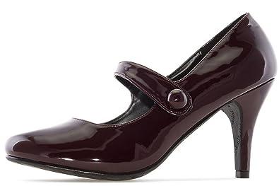 ANDRES MACHADO - Damen Lack Pumps Mary Jane Stil - Weinrot Schuhe in Übergrößen