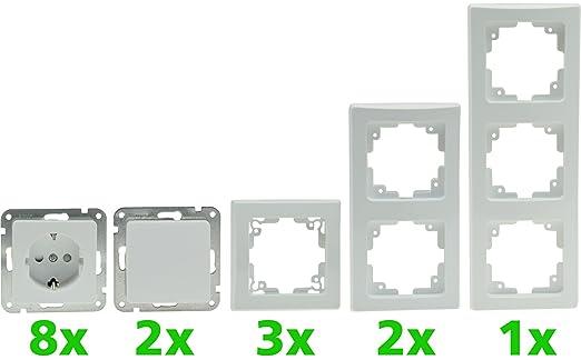 Delphi Starter Kit Pro Weiß 8 Steckdosen 2 Schalter Inkl 6