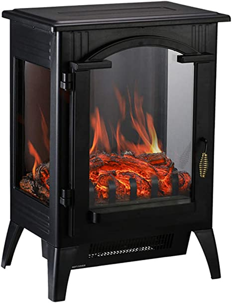Doit 16inch Electric Fireplace Stove Heater For Bedroom 1500w Black Free Standing Space Heater With 3d Flame Effect Kitchen Dining