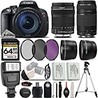 Canon EOS Rebel T5i DSLR Full HD 1080p Camera + Canon 18-135mm IS STM Lens + Canon 75-300mm III Lens + Digital Camera Flash + 0.43x Wide Angle Lens + 2.2x Telephoto Lens - International Version